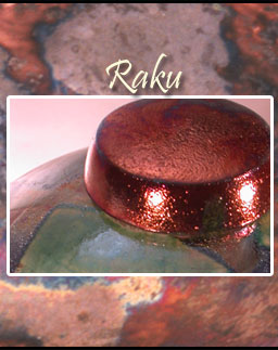 Raku pot closeups on a Raku background